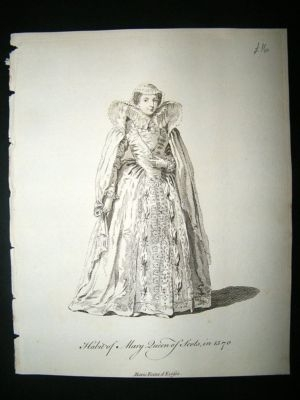 Antique Scotland Mary Queen of Scots C1760 Costume Print