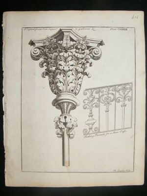 Antique Architectural Print: Capital for Iron Support designs,