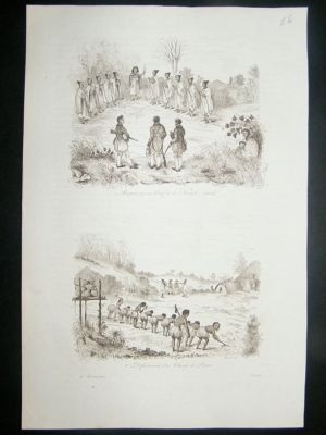 Antique New Zealand: 1834 etching. Reception of Chief