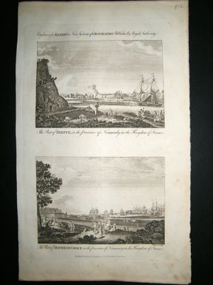 Antique France C1790 Copper Plate, Dieppe, Havre, Normandy