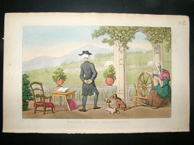 Antique Dr Syntax by Rowlandson 1855 Dogs and Old Lady