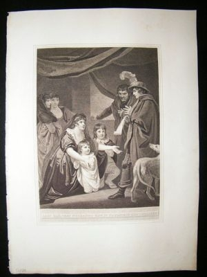 Antique Lady Elizabeth Grey Intreating Edward VI to protect chi