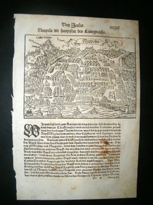 Antique Munster: C1570 Woodcut. Naples, Napoli, Italy.