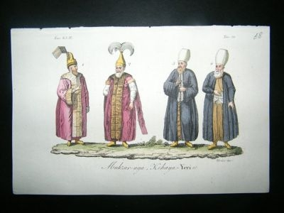 Antique Tajikistan: C1830 Hand Col Etching, Costume Print