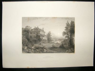 Antique Switzerland: 1834 Steel Engraving, Diodati, Byron's Res