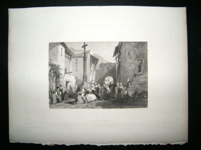 Antique France: 1846 Steel Engraving, Royat Print.