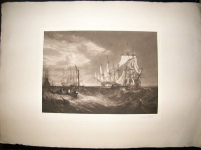 Antique Norman Hirst: C1905 Large Folio Mezzotint. Ship Print. Signed.