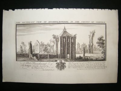 Antique Buck: 1774 Folio Architecture print, South East View of Bronholm Priory, Norfolk