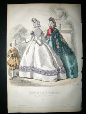 Fashion Print: 1864 Ladies, Child #6, Hand Coloured.