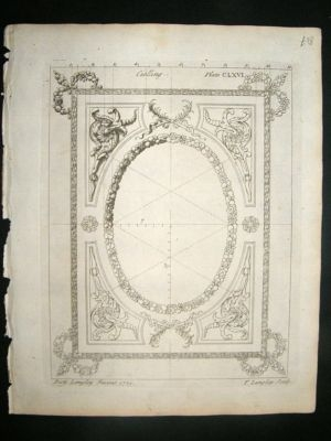 Architectural Print: Antique ceiling rose designs, 1741