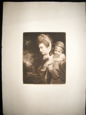 Antique Norman Hirst: C1905 Large Folio Mezzotint. Pretty Lady & Child. Signed.