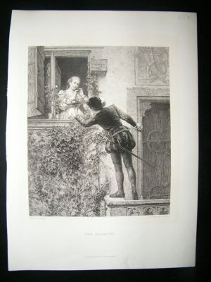 Antique Forberg After Angeli:1880 Etching The Bouquet.