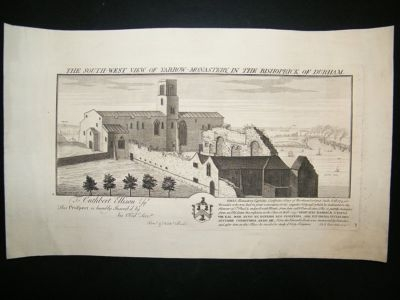 Antique Buck: 1728 Folio Architecture print, South West View of Yarrow Monastery, Durham