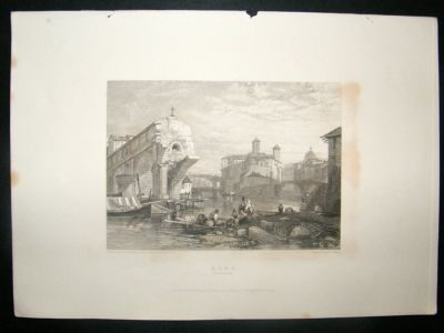 Antique Italy: 1834 Steel Engraving, Ponti Rotti Print