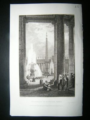 Antique Italy: 1832 Steel Engraving, St. Peters, Rome Print