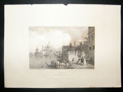 Antique Italy: 1834 Steel Engraving, Venice, Antique Print