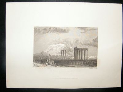 Antique Greece: 1834 Steel Engraving, Athens, Jupiter Olympus P