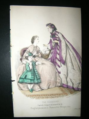 Antique Fashion Print: April 1863, Child,  Antique Hand Coloure