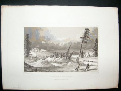 Antique Canada: 1828 steel engraving, Fort Franklin