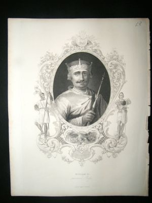 Antique William II:C1840 Steel Engraved Portrait Print.