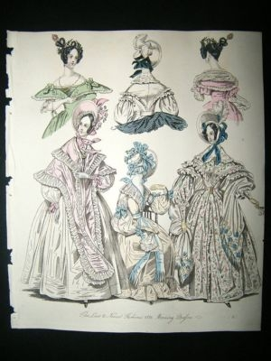 Antique Fashion 1836 Morning Dresses Hand Col #36