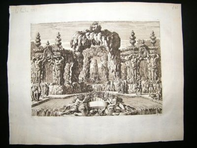 Antique Lepautre: 1751 Folio Architecture Etching. Fountains