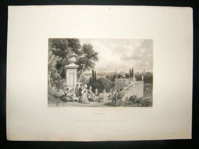 Antique Italy: 1834 Steel Engraving, Bologna Print