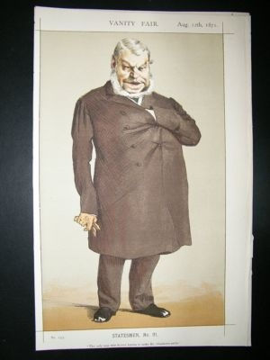 Antique Vanity Fair Print: 1871 John Locke Caricature