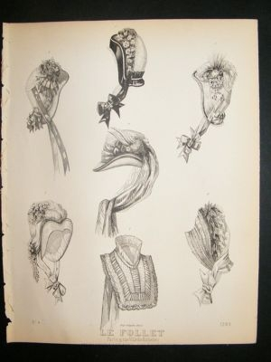 Antique Fashion Print c1860 Headresses, Bonnets Le Follet #1289