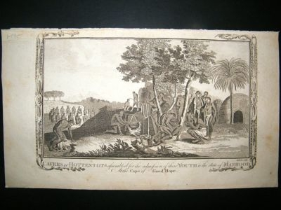 Antique South Africa: C1795 Folio Copper Plate, Kaffirs.