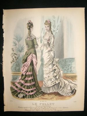 Antique Fashion Print: c1880 hand coloured Le Follet #1283