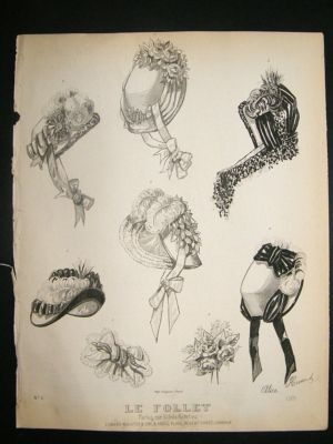 Antique Fashion Print c1860 Headresses, Bonnets Le Follet #1329