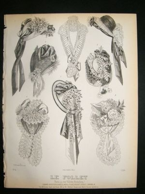 Antique Fashion Print c1860 Headresses, Bonnets Le Follet #1104