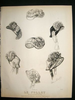 Antique Fashion Print c1860 Headresses, Bonnets Le Follet #1364