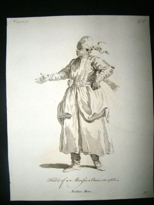 Antique Morocco Morisco Slave: C1760 Costume Print