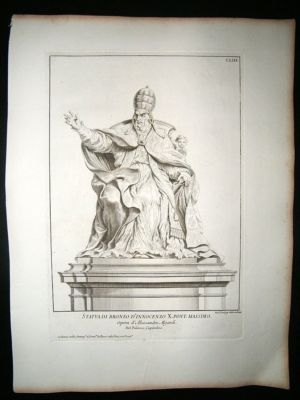 Antique De Rossi Statue Print :1704 Folio Copper Plate 153.