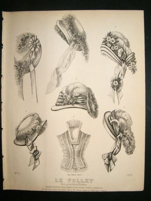 Antique Fashion Print c1860 Headresses, Bonnets Le Follet #1279
