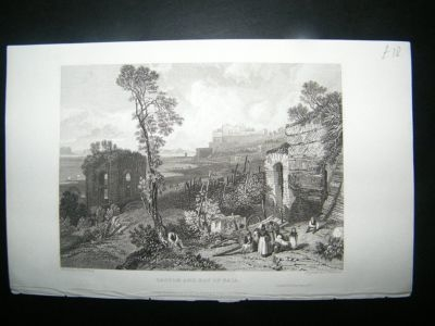 Antique Italy: 1832 Steel Engraving, Bay of Baia, Naples