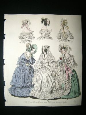 Antique Fashion 1837 Wedding & Morning Dresses Hand Col #1