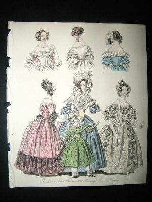 Antique Fashion 1837 Morning & Evening Dresses. Hand Col #12
