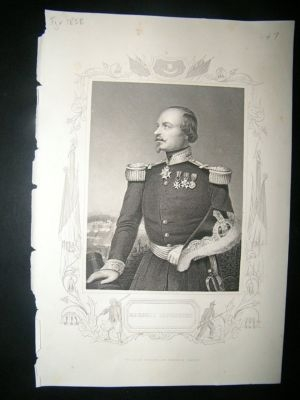 Antique Military portrait:1858 Marshall Canrobert, Crimea.