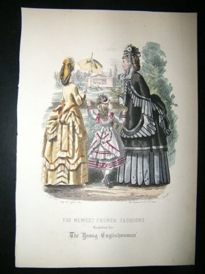 Antique Fashion Print: Ladies & Child #30,  Antique Hand Colour