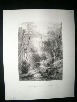 Antique Australia: 1876 Steel Engraving, Willoughby Falls, Near