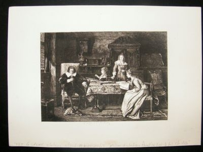 Antique G. Greux antique etching, 1880 after M.Munkacsy 'Milton