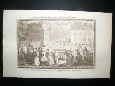 Germany: C1790 Copper Plate.  Rhineburg Baptism.