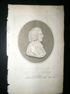 Antique Bishop Of Sailsbury:1788 Stipple Engraved Portrait.