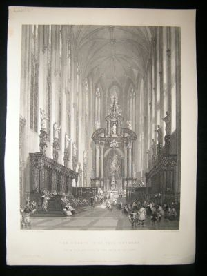 Antique Belgium 1860: Steel Engraving, Antwerp David Roberts Pr