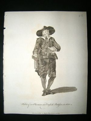 Antique UK Civil War C1760 Costume Print