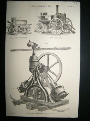 Antique Fire Engines: C1875 Antique Print