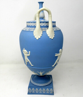 Antique Antique Pair of Blue Wedgwood Jasperware Ceramic Urns Vases John Flaxman Cherubs